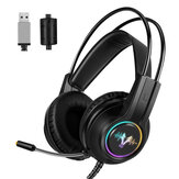 WH H200 Gaming Headset 7.1 Virtual Surround Sound 50mm Unit RGB dynamic breathing Light Headphone Omni-directional Microphone