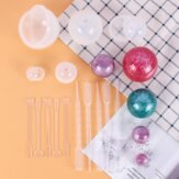 15Pcs Sphere Silicone Epoxy Molds Round Ball Jewelry Candle Resin Mould Tools DIY