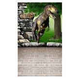 3x5FT Vinyl Dinosour Brick Wall Floor Photography Backdrop Background Studio Prop
