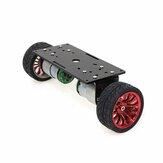 自己バランストロリーシャーシスマートロボット車DIYキット65 mmプラスチックホイール/ブラックアルミニウムパネル/コードホイール付き37-520モーター