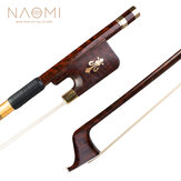 NAOMI Superior Snakewood Violin Bow With Snakewood Fleur-de-lis Frog Gold Mounted Fiddle Bow Natural Bow Hair