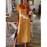 Impressão de girassol em torno do pescoço manga curta Split Hem Maxi Dress