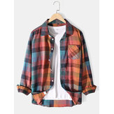 Mens Colorful Plaid Chest Pocket Long Sleeve Lapel Shirts