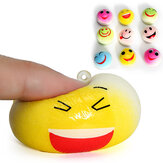 5PCS New Cute Funny Face Simulate Smashed Bean Bun Bread Squishy Toy Stress Reliever Phone Chain