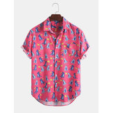 Cartoon Dinosaur Print Kortærmet Hawaii BeachCasual skjorter