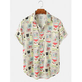 Mens Cartoon Container Print Turn Down Collar Camisas de manga curta