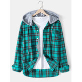Mens Plaid Long Sleeve Hooded Shirts With Pocket