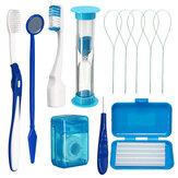 8Pcs Dental Oral Care Kit Orthodontic Teeth Toothbrush Floss Thread Wax Mirror Dental Tools