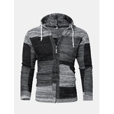 Mens Vintage Block Knitted Zipper Hooded Sweater Cardigans