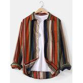 Camisas masculinas de algodão Colorful com estampa de listras de manga comprida com bolso