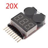 20 x 2 in 1 Lipo Batterie Niederspannungsprüfer 1S-8S Summer Alarm