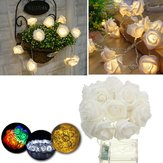 Bateria Powered 2.3M 20LEDs Decoração de quarto interior Wedding Rose Flower Fairy String Light