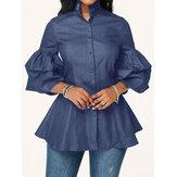 Джинсовая повседневная блуза на пуговицах с длинным рукавом