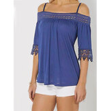 Lace Patchwork Cold Shoulder Halve mouwen Solid Tee