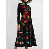Women Abstract Print High Neck Long Sleeve Vintage Dress