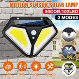 50COB / 102LED Солнечная Light Motion Датчик Водонепроницаемы Wall Street Лампа Двор коридор На открытом воздухе Освещение