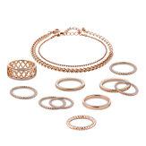 12 pcs de ouro banhado oco anéis cadeia conjunto de jóias pulseiras