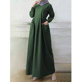 Mujer Color sólido Tobillo longitud Bolsillo lateral Kaftan Túnica Maxi Vestidos