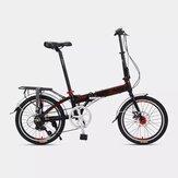 FUJITEC E300 20 Inch Desviador de 7 velocidades Doble freno de disco Bicicleta plegable Mini bicicleta compacta Suspensión Bicicleta de cercanías