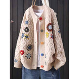 Women Calico Embroidered Button Front Knitted Long Sleeve Casual Cardigans