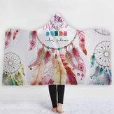 CobertoresEstiloBohemiaDreamCatcherPintura Aquarela Cobertores Com Capuz Quente Fleece Coral Tecido Sherpa Desenho De Pena Throw Blankets