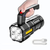 XANES® 5 Cores XPE+COB Ultrabright Handheld Flashlight Built-in Battery With Sidelight Powerful LED Searchlight, USB Rechargeable&Power Indicator Strong LED Torch