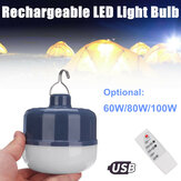 60W 80W 100W USB Rechargeable LED Camping Light Bulb Portable Outdoor Hanging Night Lamp with Remote Control
