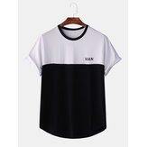 Homens Loose Letter Print Color Block Camisetas de manga curta