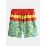 Mens Loose Playa Five Point New Banana Print Surfing Pantalones S