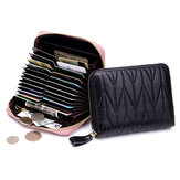 Women RFID Genuine Leather Multi-Slots Zipper Purses