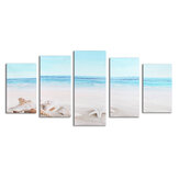 5Pcs Wall Decorative Paintings Sea Beach Canvas Print Art Pictures Frameless Wall Hanging Decor for Home Office