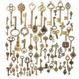 70pcs Vintage Bronze Squelette Coeur Pendentifs Clés Accessaries DIY