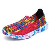 EUA Tamanho 5-10 mulheres Casual Hand-made Tricô Sapatos ao ar livre Respirável Confortável Flats Shoes