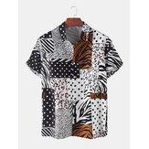 الرجال Zebra ليوبارد دوت طباعة مختلطة قصيرة الأكمام قمصان عطلة عطلة