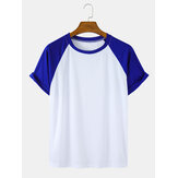Solid Color Raglan Sleeves Casual Short Sleeve T-Shirts
