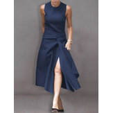 Women Sleeveless O-neck Front Split Solid Color Casual Dress