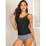 Women Black Spaghetti Straps Top Plaid Panty Tankini Cover Belly Swimsuits