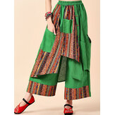 Women Vintage Print Patchwork Wide Leg Pants