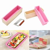 Wooden Loaf Soap Mould Silicone With Lid Making Baking Tool Cake Biscuit Cutter Baking Mold