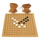 Conjunto de jogos de xadrez Go Bang 90 peças de placa de couro de camurça brinquedo educacional infantil