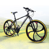 KAIMARTE 26 inch 21-Speed Mountain Bike 6 Blade Wheels Double Disc Brake Suspension Bike Students Adult Road Bikes for 160-185cm Height