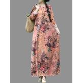vendimia O-cuello con estampado floral Maxi flojo Vestido
