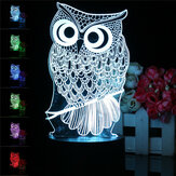 Owl 3D LED Color Change Night Light USB Charge Table Desk Lamp Decorations With Remote Controller