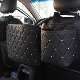 Car Back Seat Organiser Crystal Rhinestones PU Leather Tidy Pocket Storage Bag