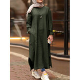 Women Solid Color O-neck Long Sleeves Splited Robe Kaftan Casual Maxi Dress With Pocket