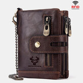 Pria Kulit Asli RFID Anti-pemindaian Anti-Theft Zipper Wallet With Chain