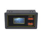 DC 6-30V a 5V Tensão do carro do medidor de eletricidade 12V24V Bateria Ácido de chumbo Bateria a 5V Dual USB Exibição de corrente de carga rápida