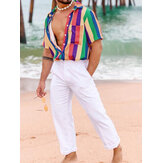 Mens Summer Fashion Rainbow Colorful Striped Shirts