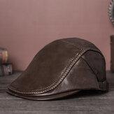 Воротник из натуральной воловьей кожи Collrown Mens Твердые повседневные теплые передние кепки Регулируемые