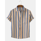 Mens Vertical Stripes Chest Pocket Short Sleeve Casual Relaxed Shirts